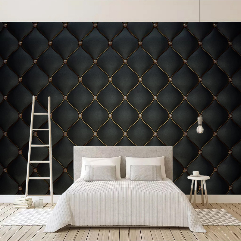 Custom Wall Murals 3D Black Luxury Soft Bag Leather Photo Wallpaper For Living Room Bedroom TV Background Wall Home Decor Mural