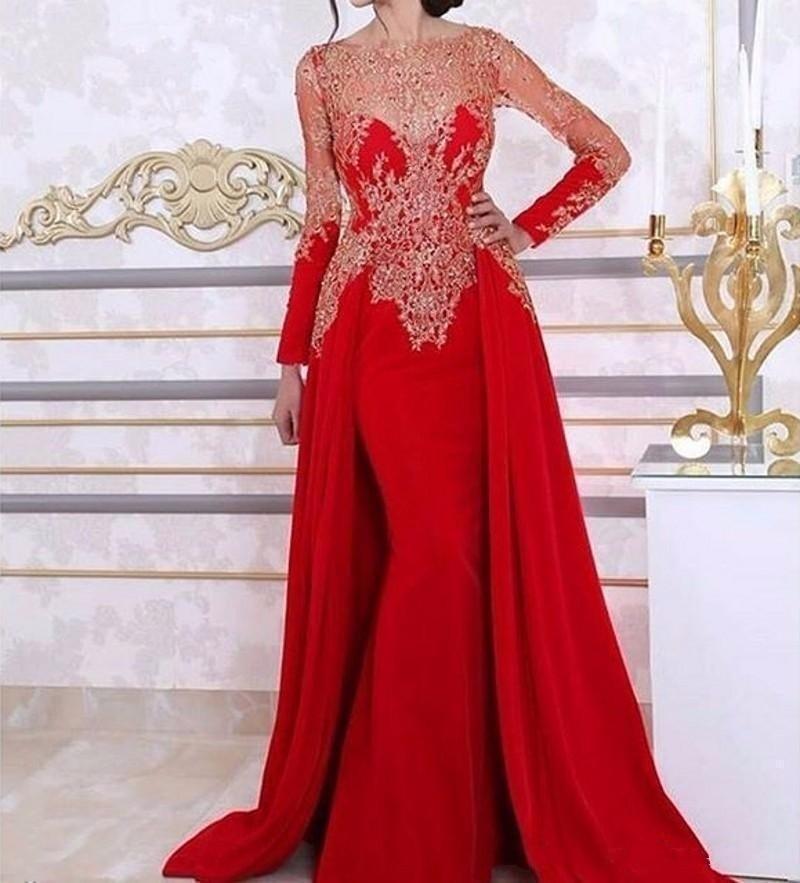 Sexy élégant femmes Gala fête longue robe grande taille arabe musulman rouge à manches longues soirée robes de bal robe 2019