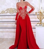 Sexy Elegant Women Gala Party Long Dress Plus Size Arabic Muslim Red Long Sleeve Evening Prom Dresses Gown 2019