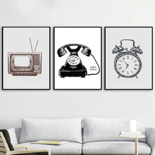 Vintage Retro TV Set Clock Minimalist Wall Art Canvas Painting Nordic Posters And Prints Wall Pictures For Living Room Decor(China)