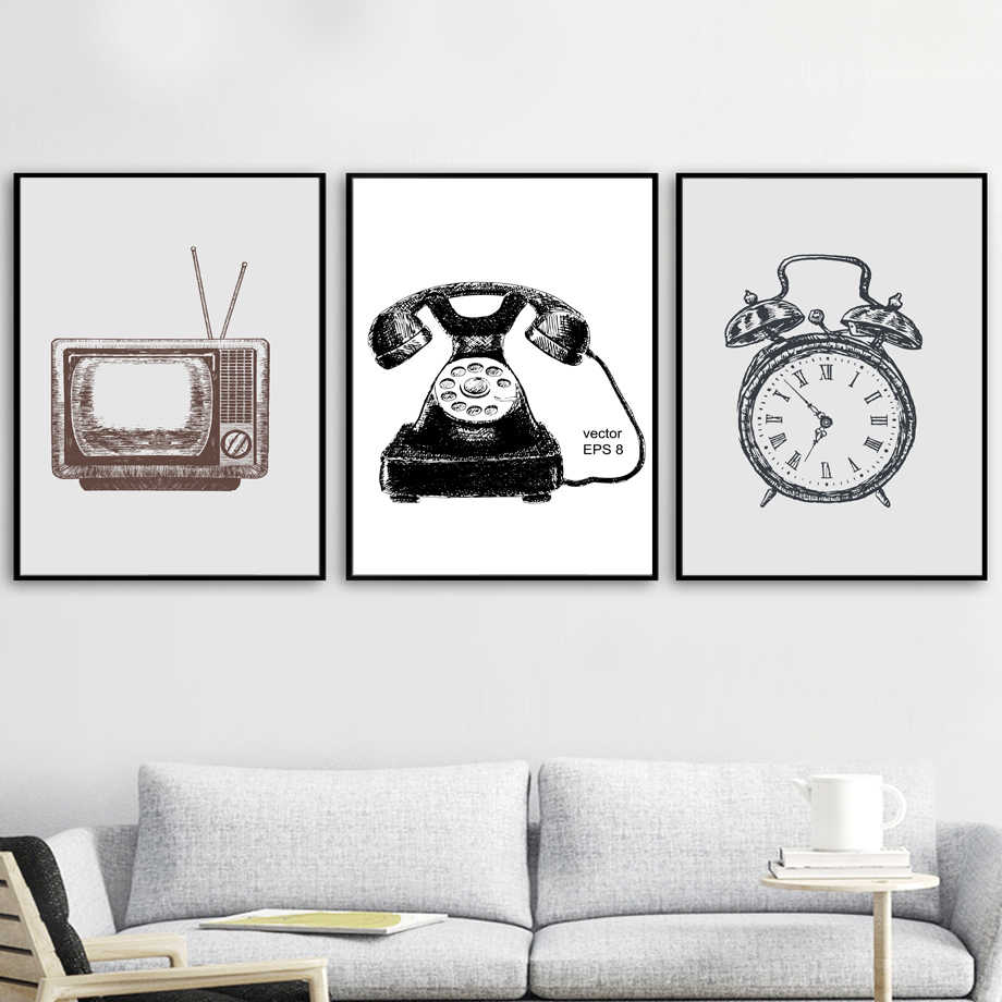 Vintage Retro TV Set  Clock Minimalist Wall Art Canvas Painting Nordic Posters And Prints Wall Pictures For Living Room Decor