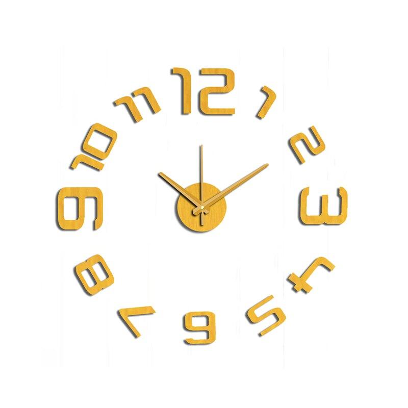 Nový přírůstek 10EM109G Moderní módní nálepka EVA kuchyňské nástěnné hodiny Zlaté číslice velké dekorativní 3d diy nástěnné hodiny velké