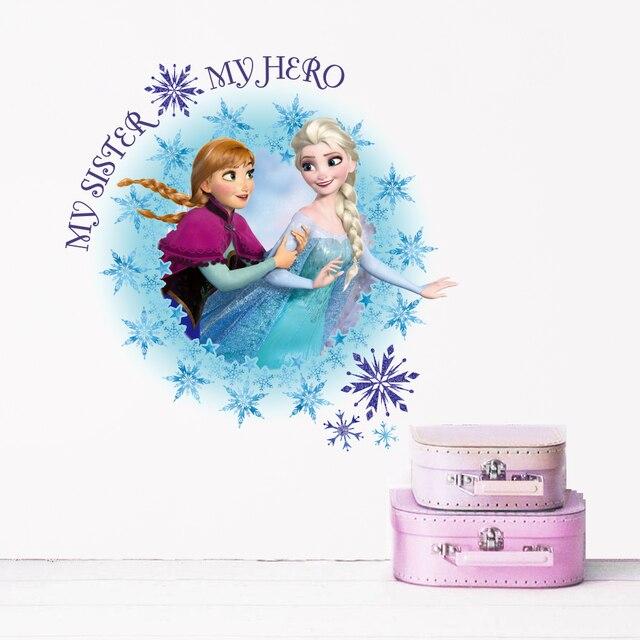 Disney Gefrorene Prinzessin Wand Abziehbilder Schlafzimmer Home Decor Cartoon Elsa Anna Wand Aufkleber Pvc Wandbild Kunst Diy Poster Wandbild Kunst