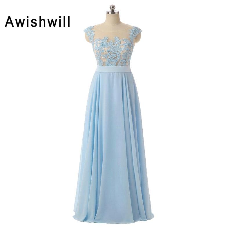 Custom Made Cap Sleeve Lace Appliques Chiffon Floor Length Women Party Dress Vestido de Festa Longo Cheap Evening Dress Long