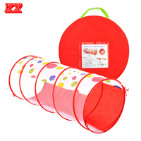 Kids Foldable Play Tunnel Indoor And Outdoor Game Lovely Red Dot Pop Up Rounded Toy Tunnels