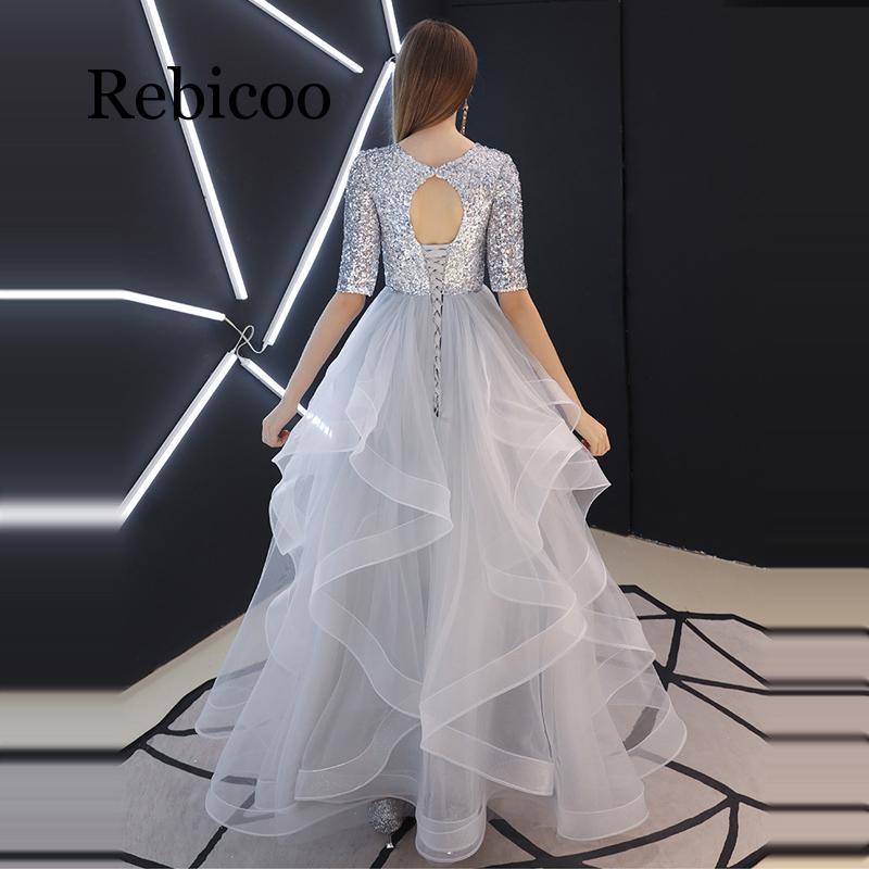 Rebicoo 2019 ภาษาฝรั่งเศสคำ Sequined ครึ่งแขน Layered Hem ชุดราตรีสีเทาเอวสูงชุดพัฟ-ใน ชุดเดรส จาก เสื้อผ้าสตรี บน   2