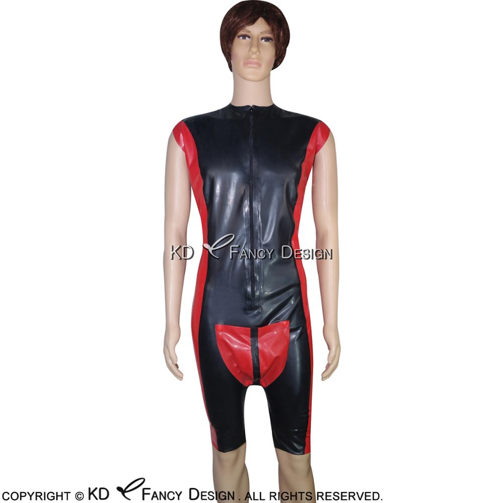Black With Red Sexy Latex Catsuit With Codpiece Penis Holes Front Zipper Rubber Bodysuit Overall Zentai Body Suit LTY-0023