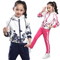 School Girl Clothes Winter Girls Sport Suit Hooded+Pants Kids Clothes Floral Sweatshirts Tracksuits Clothing Sets Age 6-14
