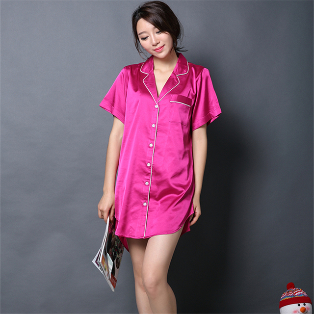 Ladies Silk Nightshirts Women s Night Shirt Dresses Short Sleeve Satin  Nightie for Sleep Clothes 1383e912d