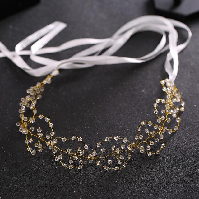 New Handmade Crystal Hairband Jewelry Bridal Hair Accessories Ribbon Headband Crown Delicate Wedding