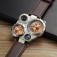 Oulm Unique Design Sport Watches Men Luxury Brand Quartz Watch Thermometer And Compass For Decoration Double