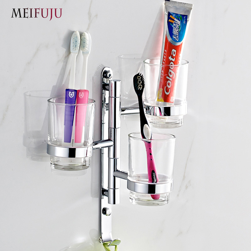 MEIFUJU New Arrival Brass Movable Tumbler Holder with Glass Cup Wall mounted Cup Tumbler Holders Cup Toothbrush Holder Bathroom new arrival flower carved bath deck mount toothbrush holder single ceramic cup with metal holder tumbler holder