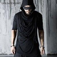 Erkek Gotik Punk Rock Asimetrik Hoodie Kısa Kollu Hipster Kapüşonlu Tee Gömlek