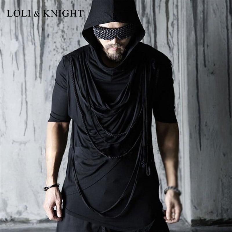 Men's Gothic Punk Rock Asymmetrical Hoodie Short Sleeve Hipster Hooded Tee Shirt