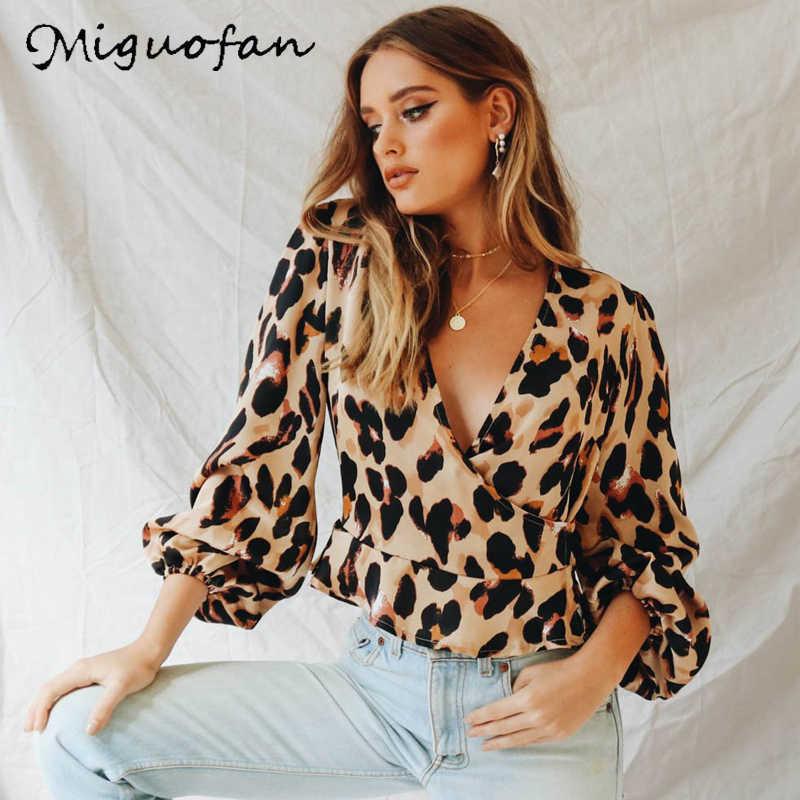 d75e2c35306 Miguofan Винтаж леопардовый принт женские блузки сексуальный глубокий v-образный  вырез рубашка с пышными рукавами