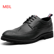 Mens Brogue Leather Business Dress Shoes Men Fashion Classic Designer Formal Oxfords Wedding Evening Pointed