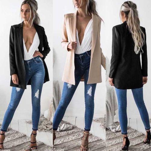 quality design 91b45 ccaab US $6.25 53% di SCONTO|Hirigin Donne Calde Signore Cappotto Del Vestito di  Affari A Lungo Blazer Manica Lunga Nero e Kaki Colori Outwear Formale-in ...