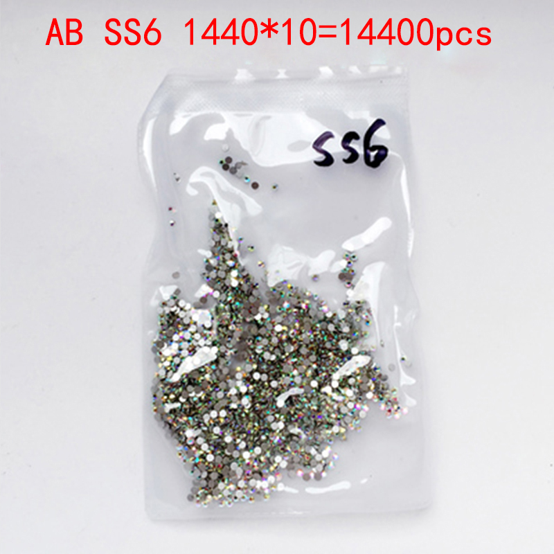 Wholesale Rhinestones New AB ss6 14400 pcs 2.0mm Crystal Color Non Hotfix Rhinestones For Nails Flatback Nail Art Decorations glitter flatback crystal resin rhinestones 2 6mm aquamarine ab color new design for nail art decorations stick drill non hotfix