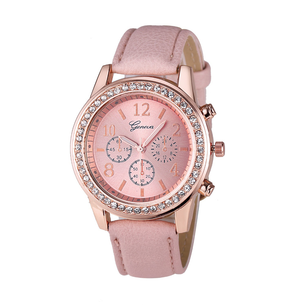 2017 New Brand Women Watches Quartz Watch Geneva Rhinestone Crystal Roman Lady PU Leather Band Analog Relogio Feminino high quality 2016 luxury brand fashion women geneva roman watch lady pu leather analog quartz wristwatch relogio masculino mujer