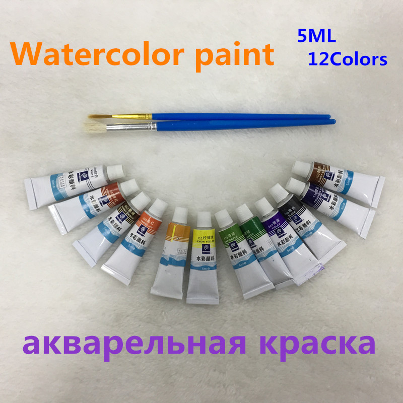 5ML 12 Colors Tubes Set Watercolor Paints Professional Water Paint Hand Painted Canvas Pigment Art Supplies Free 2 Brush цена