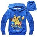 Crianças pokemon traje meninos Do Hoodie com capuz pulôver outwear menino primavera roupas de outono 2016 novo design de Tamanho para 4 5 6 7 8 anos de idade
