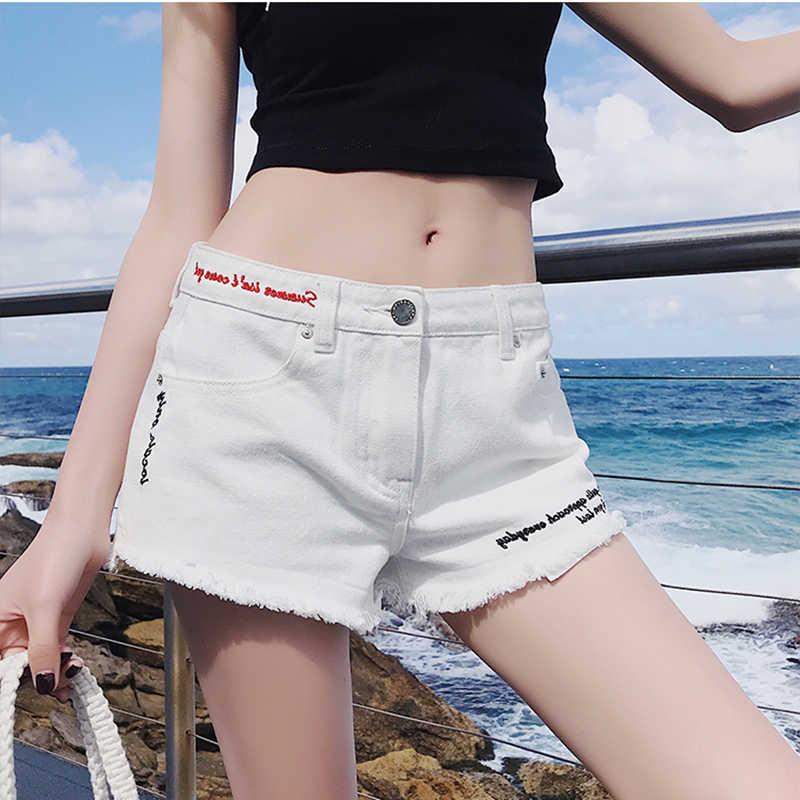 41dedeb723 Jeans Shorts Women Summer 2019 European Fashion High Waist Letter  Embroidery White Shorts Woman Beach Hot