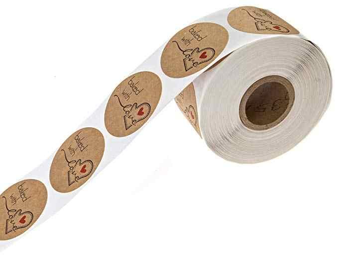 Natal Adesivos/500 Etiquetas de presente de Natal/Feliz Natal Kraft Natural Cozido com Amor decoração do casamento Adesivos lables