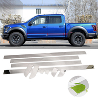 For Ford F 150 4dr 2015 2019 Chrome Exterior Side Door Body Molding Streamer Protector Cover Trim