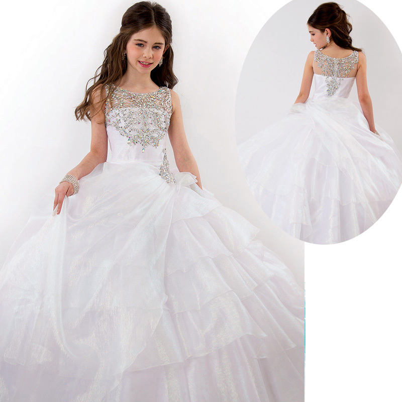 White Silver Crystals Girls Pageant Gowns 2015 Ball Gown Dresses For ...