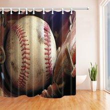 Vintage Baseball Shower Curtain Waterproof Polyester Fabric Bathroom Fantastic Decorations Bath Curtains Hooks IncludedChina