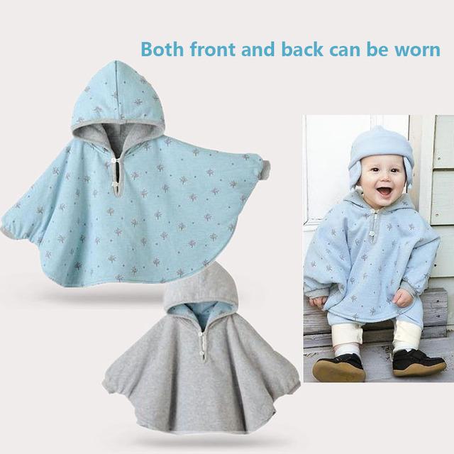New baby clothing primavera outono casaco com capuz ambos frente e para trás pode ser usado Manto desgaste Do Bebê à prova de vento roupas casaco bebê do sexo feminino