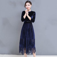 New Women Black Dark Blue Velvet Dress Autumn Winter Dresses Women 2018 Midi Party Dresses Robe Longue Femme LQ464
