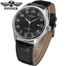 Новый Победитель Повседневная Автоматические Часы Мужчины Горячие продажи Автоматические моды для Мужчин Часы черный кожаный ремешок Доставка Бесплатно WRG8024M3S3