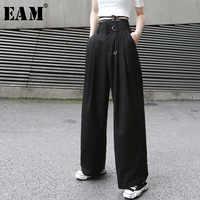 [EAM] 2019 New Autumn Winter High Waist Loose Button Brief Bandage Long Wide Leg Pants Women Trousers Fashion Tide JX399