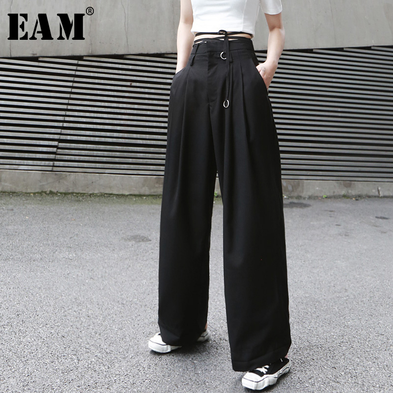 [EAM] 2020 New Spring Autumn High Waist Loose  Button Brief Bandage Long Wide Leg Pants Women Trousers Fashion Tide JX399