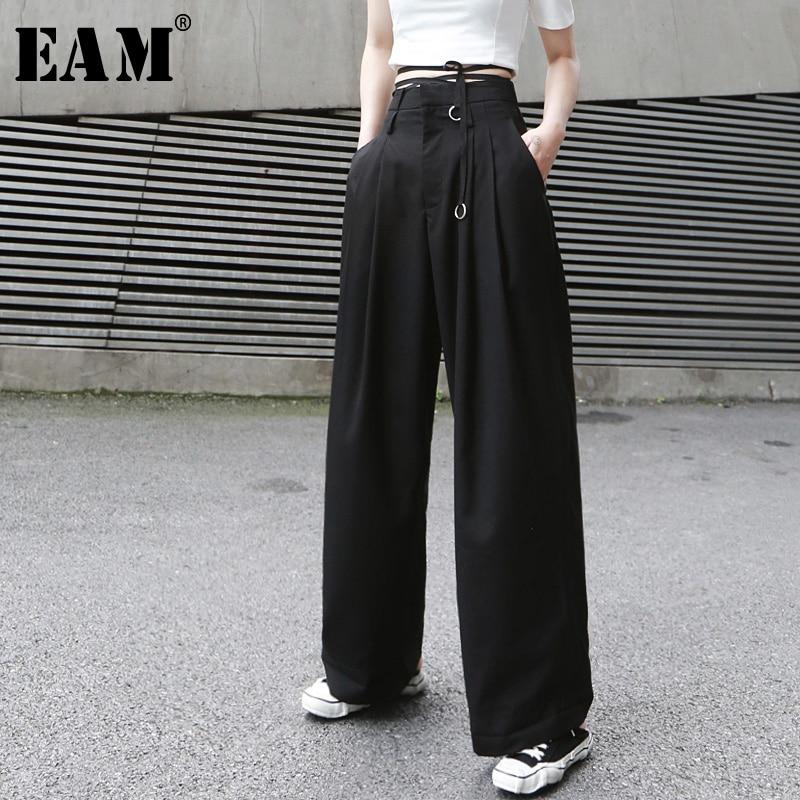[EAM] 2020 New Spring Autumn High Waist Loose  Button Brief Bandage Long Wide Leg Pants Women Trousers Fashion Tide JX399