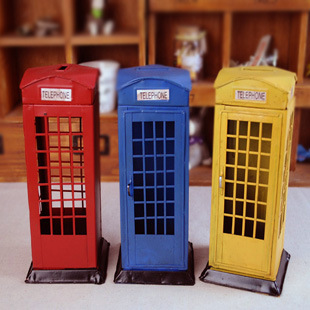 London telephone booth style Hand painted tin box piggy bank vintage ...