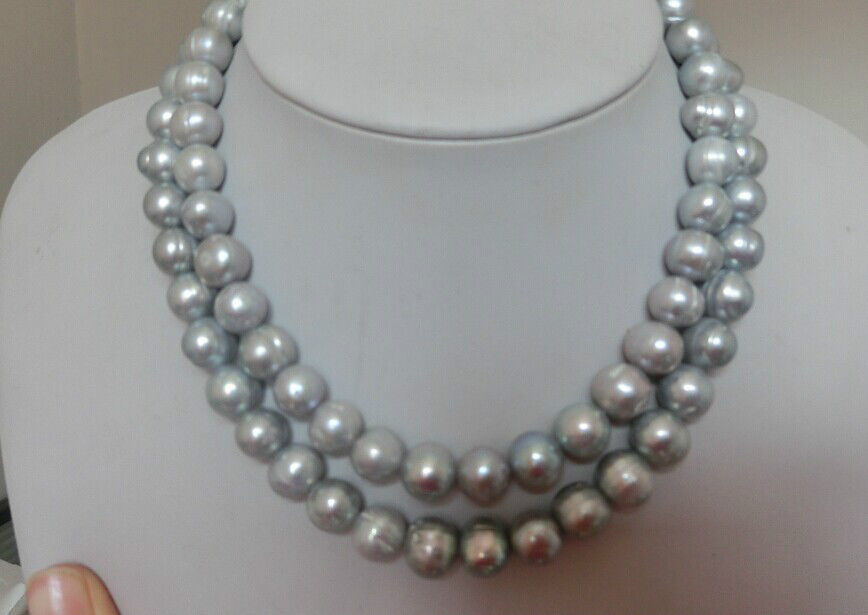 3612-13mm south sea silver grey natural round pearl necklace 925silver3612-13mm south sea silver grey natural round pearl necklace 925silver