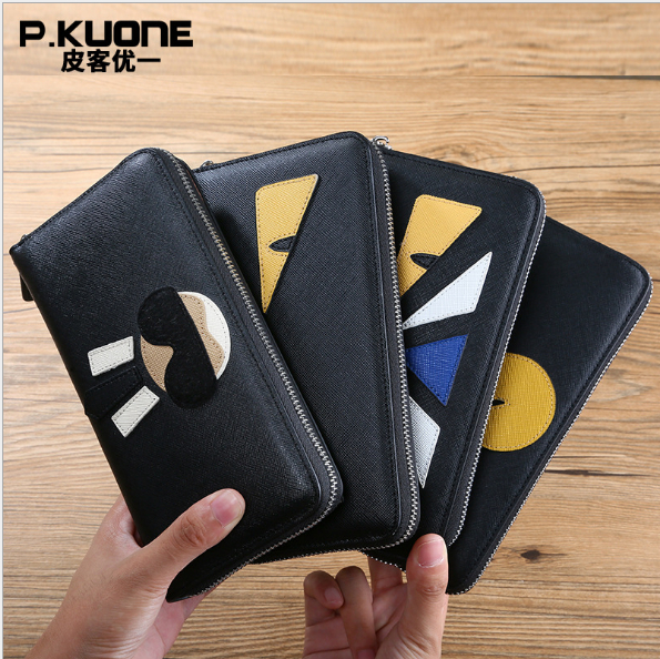 P,KUONE  men and women long  High capacity  clutch wallets  cell phone bag hit color wallet brand double zipper genuine leather men wallets with phone bag vintage long clutch male purses large capacity new men s wallets