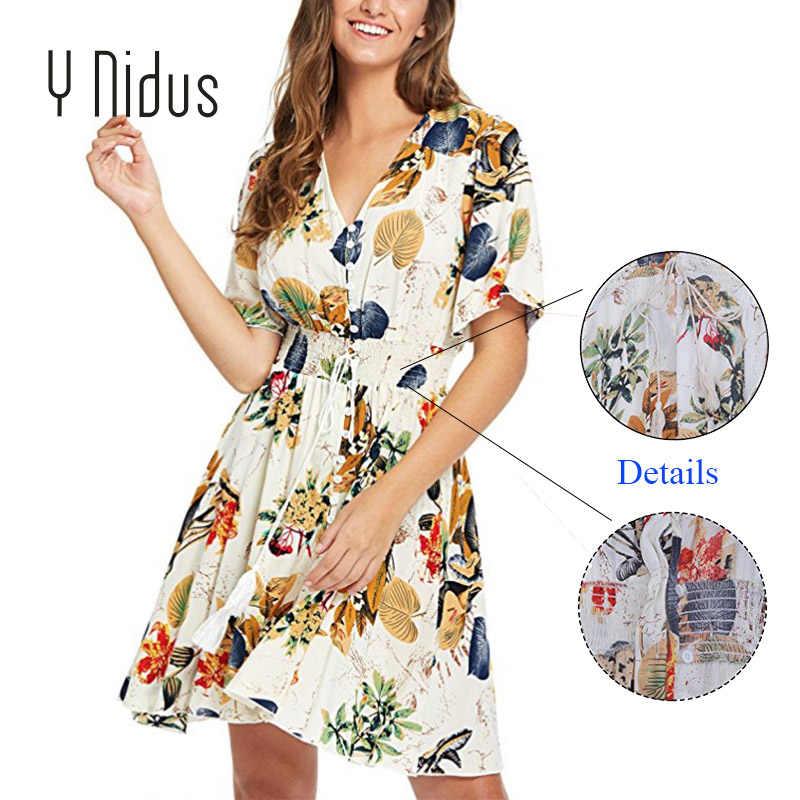cd4e32405ff0b Y Nidus Women Dresses Summer Dress 2018 Mini Sundress Tassel Belt Button Up  Split Floral Print Flowy Boho Beach Dresses vestidos