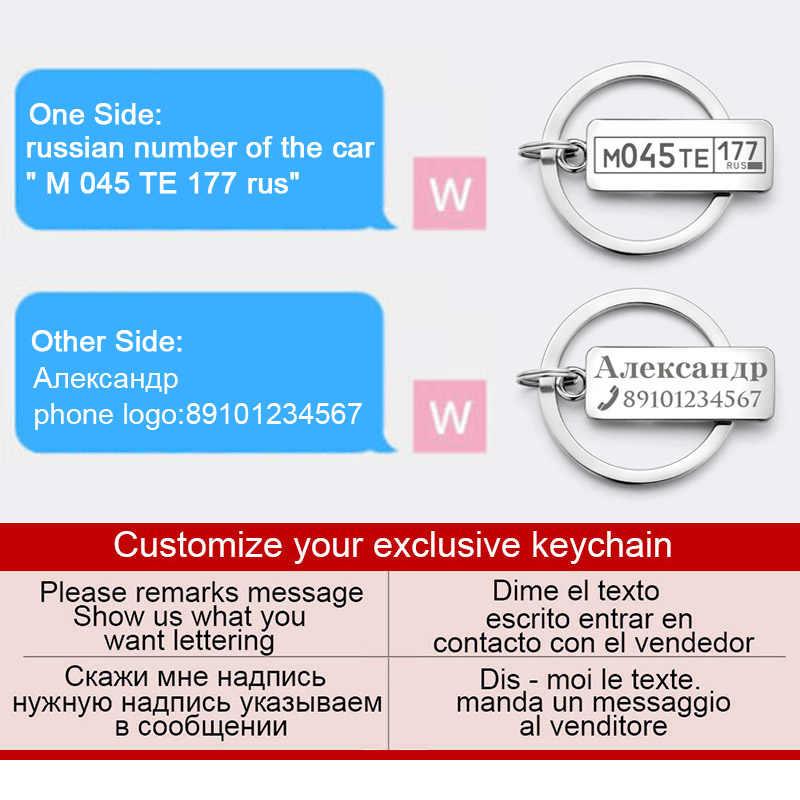 Tùy chỉnh Khắc Keychain Đối Với Xe Tấm Biểu Tượng Số Cá Nhân Quà Tặng Anti-bị mất Keyring Key Chain Vòng P009C