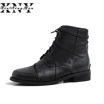 Genuine Leather Women Martin Boots Low Heels Spring 2019 Rivet Fashion Ankle Boots Handmade Leather Retro Women's Winter Shoes