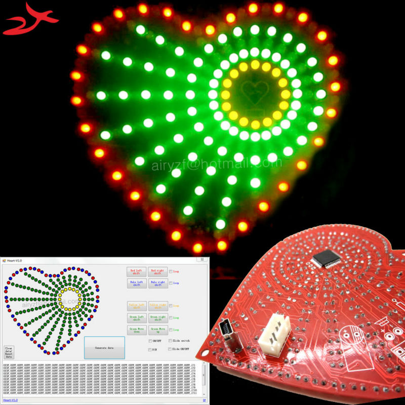 With software Multi color heart shaped lights cubeed led electronic diy kit