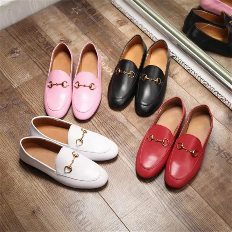 Women Casual Shoes High Quality Luxury Designer Leather with buckle Trainers loafers Breathable Brand Women Flats Shoes