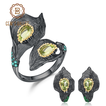 GEM'S BALLET 925 Sterling Silver Handmade Callalily Leaf Jewelry Set 2.83Ct Natural Peridot Ring Earrings Jewelry Sets For Women