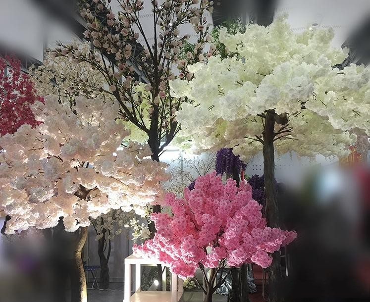 Simulation cherry blossom branch 4 fork with green leaves pear flower branch wedding decoration cherry artificial silk flower