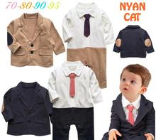 2016 New Baby Rompers Toddlers Baby Boy 2 pcs Set  Gentleman Ties Rompers +Jackets Wedding Boys Clothes Roupas Infantis Menino