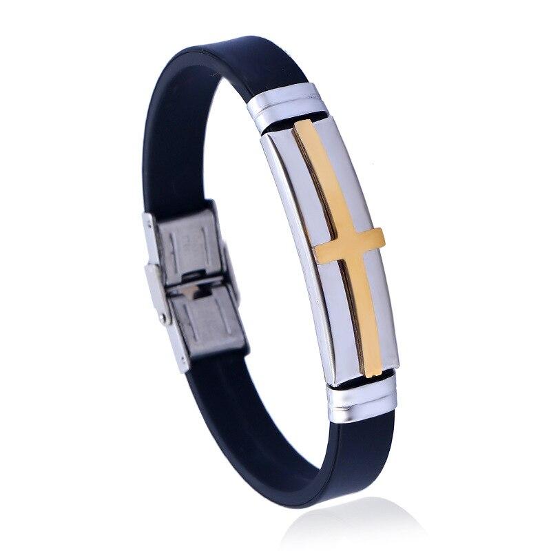 Trendy Stainless Steel Gold Cross Bracelets for Men Women Jewelry Alloy Bracelet Titanium Braslet Femme 2018 New