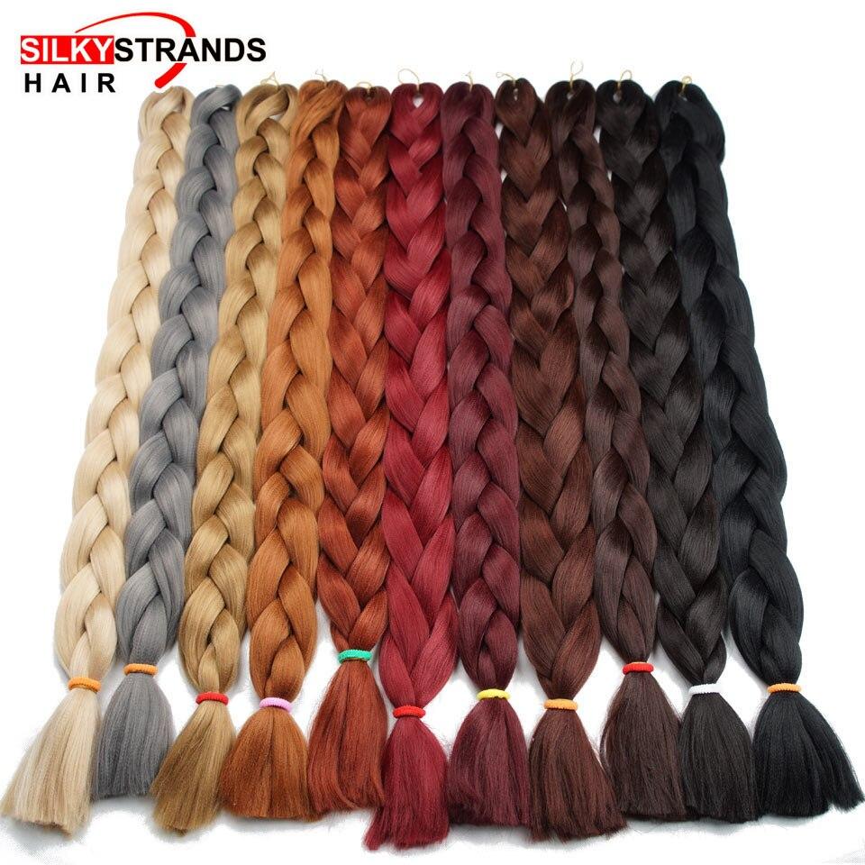Hebras sedosas trenzas Jumbo pelo sintético a granel 82 ''165g cabello trenzado africano estilo Crochet cabello