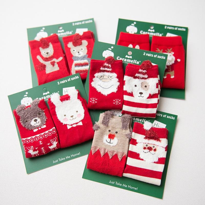 Caramella 2017 2pairs/card Cotton Meias Santa Claus Christmas elk Warm Cute 3d Animal Patterns Cartoon Socks Women free ship